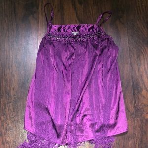 Purple fringe top with beading